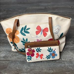 Relic Pattern Bag and Matching Wallet